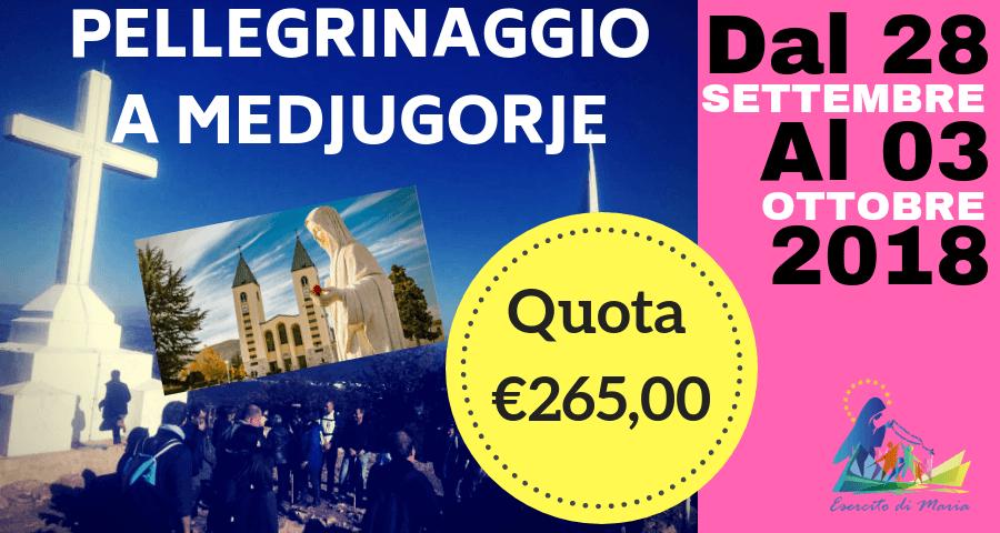 pellegrinaggio a Medjugorje 28 settembre 2018