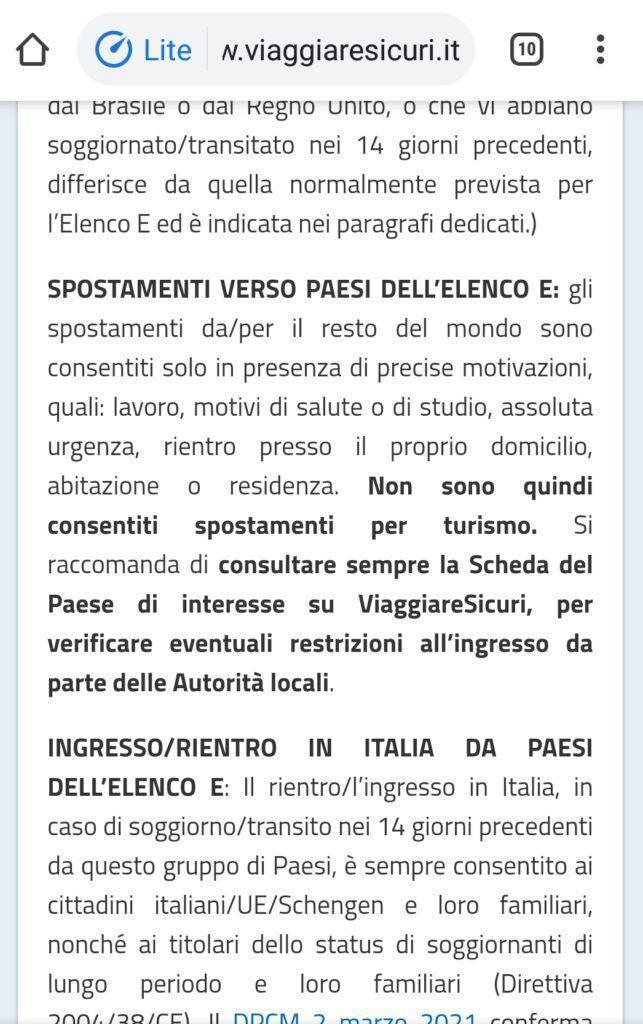 la legge italiana sugli spostamenti all'estero covid19